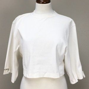 Damir Doma Ivory Embroidered Sleeve Label Crop Top